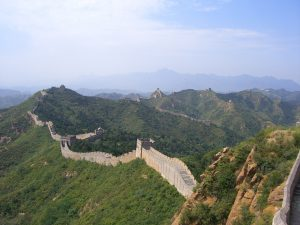 great wall of china and undulating hills